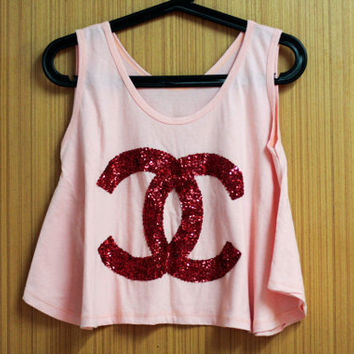 COCO CHANEL T Shirts tank top handmade crystal seed by OrinocoShop