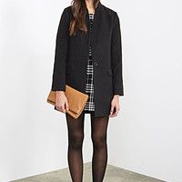 FOREVER 21 Shrunken Collar Longline Overcoat Black