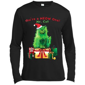 You're A MEOW One Mr. Cat Christmas Holiday Funny  Long Sleeve Moisture Absorbing Shirt