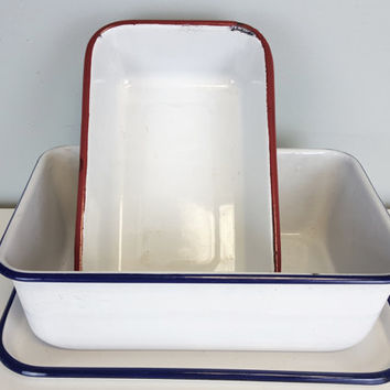 Classic Enamel Bakeware Set, Red White Blue Enamel Loaf Pans, Rustic Farmhouse Kitchen Decor, Shabby Chic, Country Farmhouse Kitchen Decor