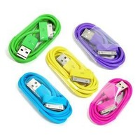 Amazon.com: COSMOS ® 5 PCS of Aqua Blue/Hot Pink/Purple/Green/Yellow 3 feet USB Charge and Sync Data Cable for iPod touch itouch / Nano / iPhone 4 4s 3 3Gs / iPad, FITS IPHONE 4 BUMPER AND ALL OTHER CASES + Free COSMOS cable tie: Cell Phones & Accessories