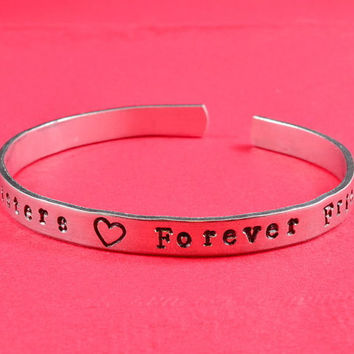 Always Sisters  Forever Friends - Hand Stamped Aluminum Bangle Bracelet,  Adjustable Skinny Bracelet