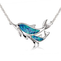 Sterling Silver Alamea Hawaii Blue Opal Dolphin and Baby Calf Necklace