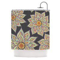 "Pom Graphic Design ""Floral Rhythm in the Dark"" Shower Curtain"