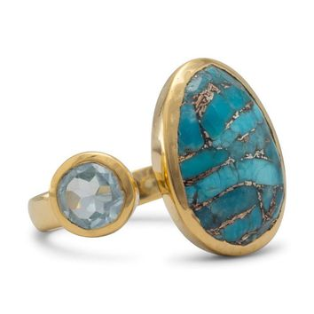 14K Gold Plated Ring with Blue Topaz and Turquoise