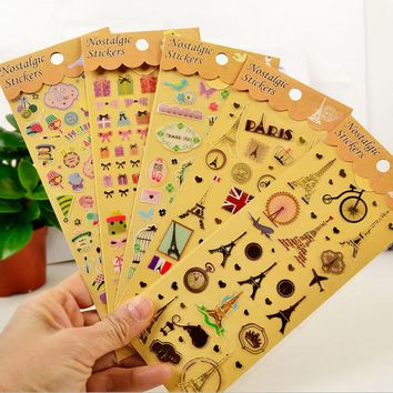 Gilding+PVC Tower Animal Cat / Owl Planner Calendar Book Cute Diary Sticker Scrapbook Decoration 20 style Free Shipping