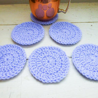 Round Crochet Coasters, perriwinkle crochet coasters, wedding present, housewarming  gift, fabric lined, cute crochet coasters, granny chic
