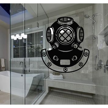 Window and Glass Vinyl Decal Retro Underwater Diving Helmet Sea Style Stickers Unique Gift (1650igw)