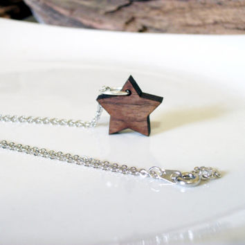 Tiny wooden star necklace, minimalist jewelry, wishing star necklace, dainty necklace, delicate, laser cut wood, modern necklace, everyday