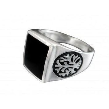 925 Sterling Silver Men's Celtic Tree Of Life Black Rectangular Onyx Ring 9gr