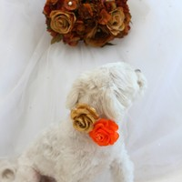 Orange Gold Wedding Dog Collar with orange and gold flowers, Chic and unique