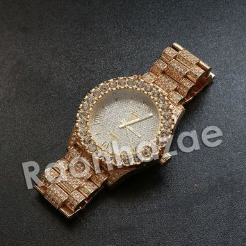 """Iced Out Hip Hop """"Passion Fruit"""" Gold Wrist Watch"""