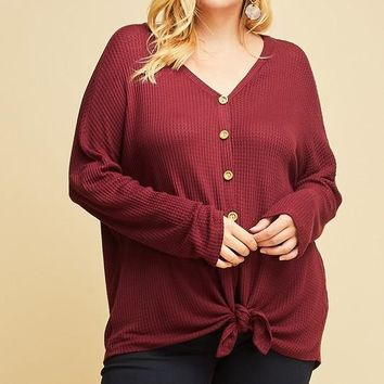 Luanne Button-Up Knot Top   Wine   Plus