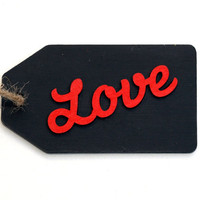 Valentines Gift Tag, Chalkboard Tag, Present Tag, Gift Tag, Black Gift Tag, Love, Red, Wooden Tags, Valentines Day