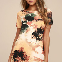 Camaraderie Orange Print Shift Dress