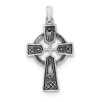 Sterling Silver Polished And Antiqued Celtic Cross Pendant