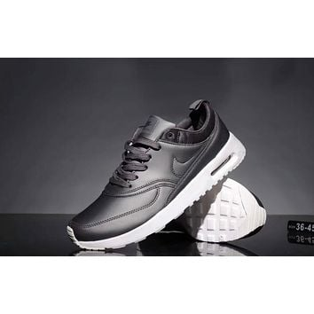 Nike Air Max 90 Popular Women Men Leisure All Leather Small Ar Cushion Sport Running Shoe Sneakers Grey I-CQ-YDX