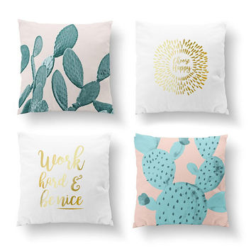 SET of 4 Pillows, Botanical Art, Cactus Mint, Bed Pillow, Throw Pillow, Cushion Cover, Choose Happy, Gold Pillow, Watercolor Art,Plant Decor