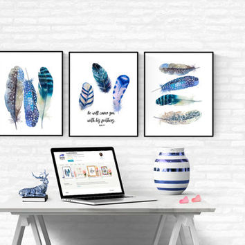 Set Of 3 Blue Feathers Prints, Scripture Art Print, Boho Poster,Feathers Art Print, Printable Feathers Art,Digital Feathers, Tribal Wall Art