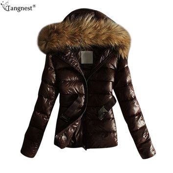 TANGNEST 2017 Winter Coat Jacket Warm Women Fur Hooded Parkas Female Overcoat High Quality Coat Large Fur Collar Jackets WWM1611