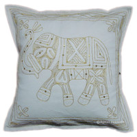 Handicraft Elephant Golden Thread Hand Embroidered Decorative Throw Pillow