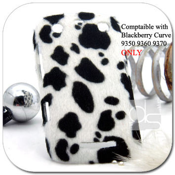 Blackberry Curve 9350 9360 9370 Skin Case: Velvet felt Hand Craft Unique Snap on Back Hard Case Cover (Holstein)