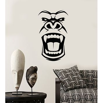 Vinyl Wall Decal Gorilla Evil Monkey Head Face African Mask Stickers (3580ig)