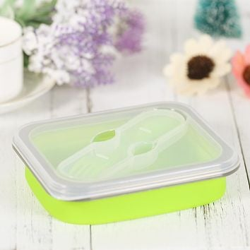 600ml New Silicone Collapsible Portable Lunch Boxs Bowl Bento Boxes Folding Food Storage Container Bento box Eco-Friendly