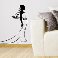 Wall Decals Vinyl Decal Sticker Bride in Wedding Dress Art Design Room Nice Picture Decor Hall Wall Chu1309