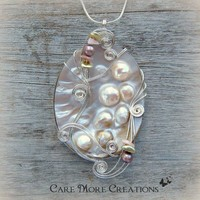 Wire Wrapped Pendant - Pink Blister Pearl Shell Necklace in Silver