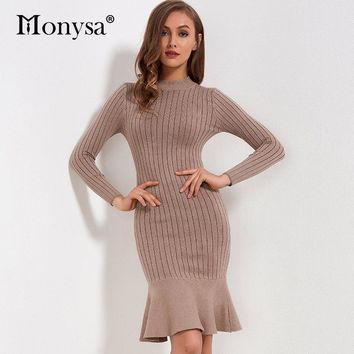 Ruffles Sweater Dresses For Winter 2018 New Arrivals Long Sleeve Bodycon Dresses Ladies Knee-length Knitted Sweater Dress Women