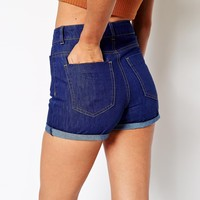 ASOS Denim Mom Short in Bright Blue With Patch Pocket