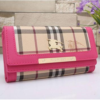 Burberry Hot Sale Women Leather Buckle Wallet Purse Rose Red