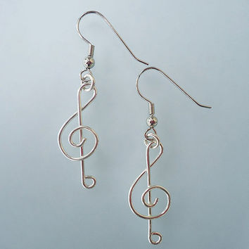 Music Note Earrings, Silver Filled, Treble Clef, Dangles