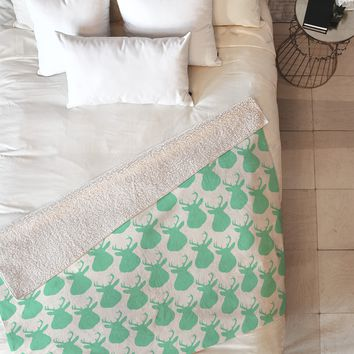 Allyson Johnson Minty Deer Fleece Throw Blanket