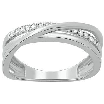 Sterling Silver Criss Cross Ring with 0.15 cttw Diamonds