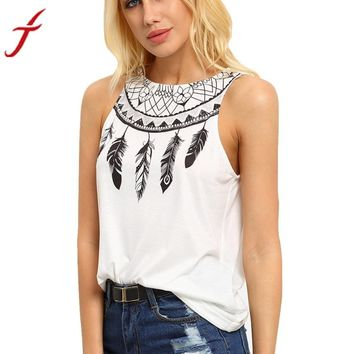 Fashion White Shirt 2017 Women Casual Summer Sleeveless Feather Printed Shirts Round neck Top female T-shirt Tank Tops#LSN
