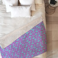 Allyson Johnson Purple Anchors Fleece Throw Blanket