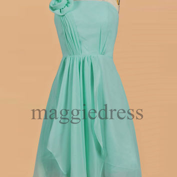 Custom Mint One Shoulder Short Bridesmaid Dresses 2014 Party Dress Cheap Prom Dress Evening Dresees Party Dresses Wedding Party Dress