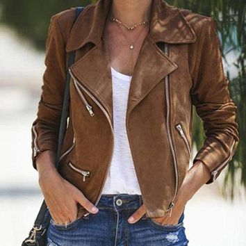 Ladies Casual Coat Punk Outwear Women Winter Long Sleeve Slim Biker Motorcycle Synthetic Leather Zipper Jackets