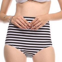 Striped High Waisted Bikini Bottoms Black