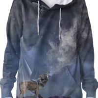 The Light of Starry Dreams (Wolf Howl) Unisex Hoodie Sweatshirt created by soaringanchordesigns | Print All Over Me