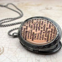 Smile Dictionary Locket Necklace : Vintage Style