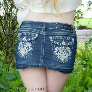L.A. Idol Denim Mini Skirt with Fleur De Lis Stitched Pocket (Small - Med)