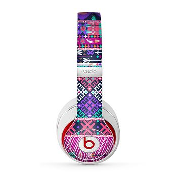 The Pink & Teal Modern Colored Aztec Pattern Skin for the Beats by Dre Studio (2013+ Version) Headphones