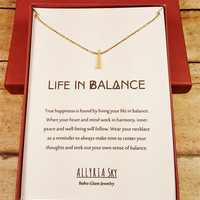 Petite Gold Plated Triangle Necklace and Card Set | Life in Balance Necklace | Minimalist Geometric Necklace | Perfect for Layering