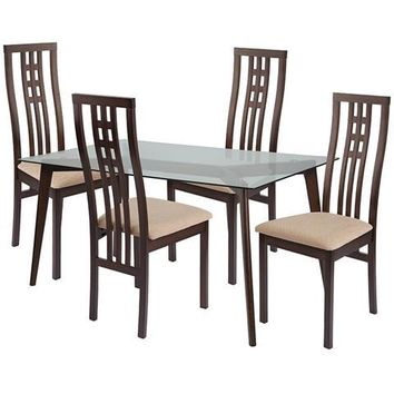Clearview 5 Piece Espresso Wood Dining Table Set with Glass Top and High Triple Window Pane Back Wood Dining Chairs - Padded Seats