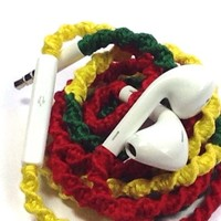 Handmade Wrapped Tangle-Free Earbuds | Rasta Smile| Genuine iPhone EarPods
