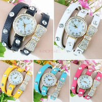 Wrap Around Bowknot Crystal Synthetic Leather Chain Women's Quartz Wrist Watches 19342_W_26601 Wristwatch = 1745446660