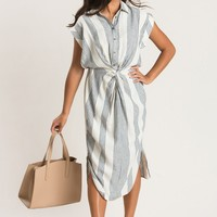 Adriana Blue Striped Knot Front Midi Dress